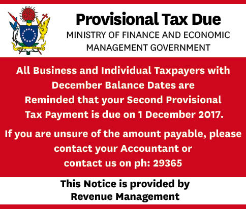 Provisional Tax FC Friday 24 November 2017